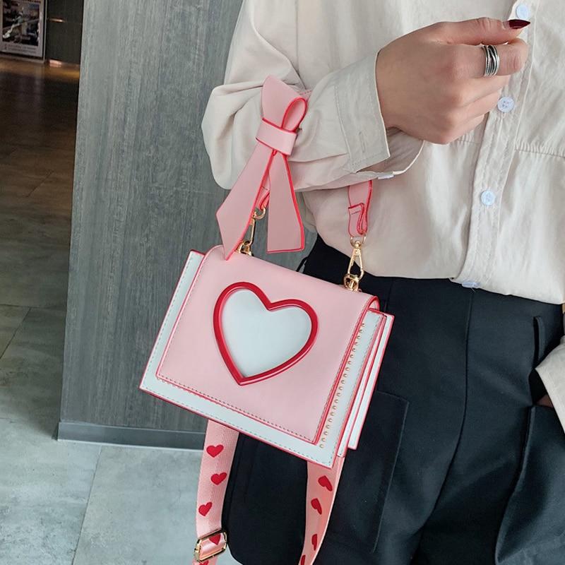 Shoulder Bags Heart Handbags Fashion Designer Luxury Crossbody Bag for Women High Quality Casual Flap Female Cute Messenger Bags