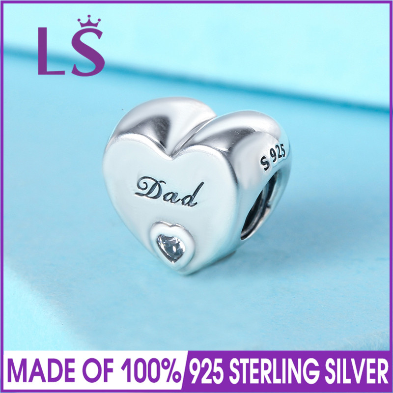 LS High Quality 925 Sterling Silver Dads Love Charm Beads Fit Original Bracelets Pulseira Encantos.Fine Jewlery Christmas Gifts