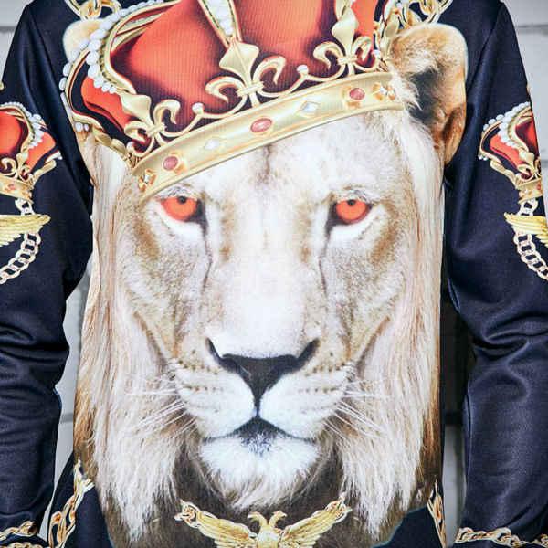 Новое поступление, Леопардовый Свитшот 3D Sudaderas Lord Of animals с длинными рукавами, черный 2016 стиль хип-хоп унисекс, мужские/женские толстовки