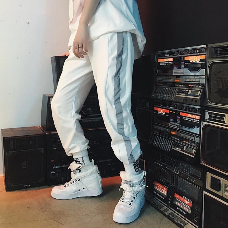 HOUZHOU 2019 New Reflective Pants Women Hip Hop Sweatpants Loose Side Striped Trousers Joggers Streetwear High Waist Female Punk