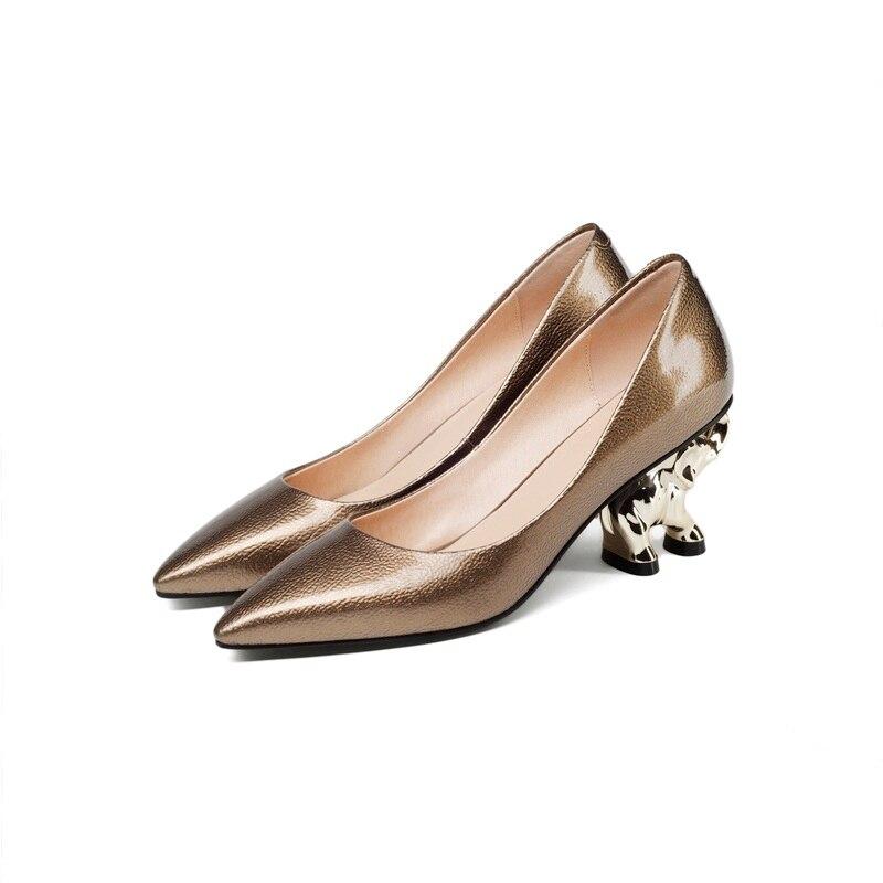 Buty marki kobieta słoń rzeźby obcas skórzane czółenka wysokie obcasy pani jesienne letnie buty wskazał palec u nogi kobiet sukienka na imprezę buty w Buty damskie na słupku od Buty na  Grupa 3