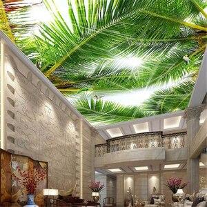 Обои wellyu на заказ, 3d обои, небесно-голубой, белые тучки, Коко, водоросли, солнечный свет, потолочные, 3d декоративные обои