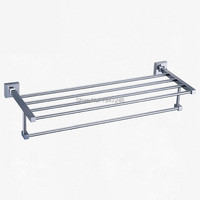 Wholesale And Retail Luxury Square Solid Stanless Steel Towel Rack Holder Clothes Shelf Wall Mounted Towel