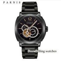 Modisch 44mm ajustar miyota Parnis CASO PVD data vidro de safira mostrador preto Relógio Dos Homens movimento automático Relógios mecânicos     -