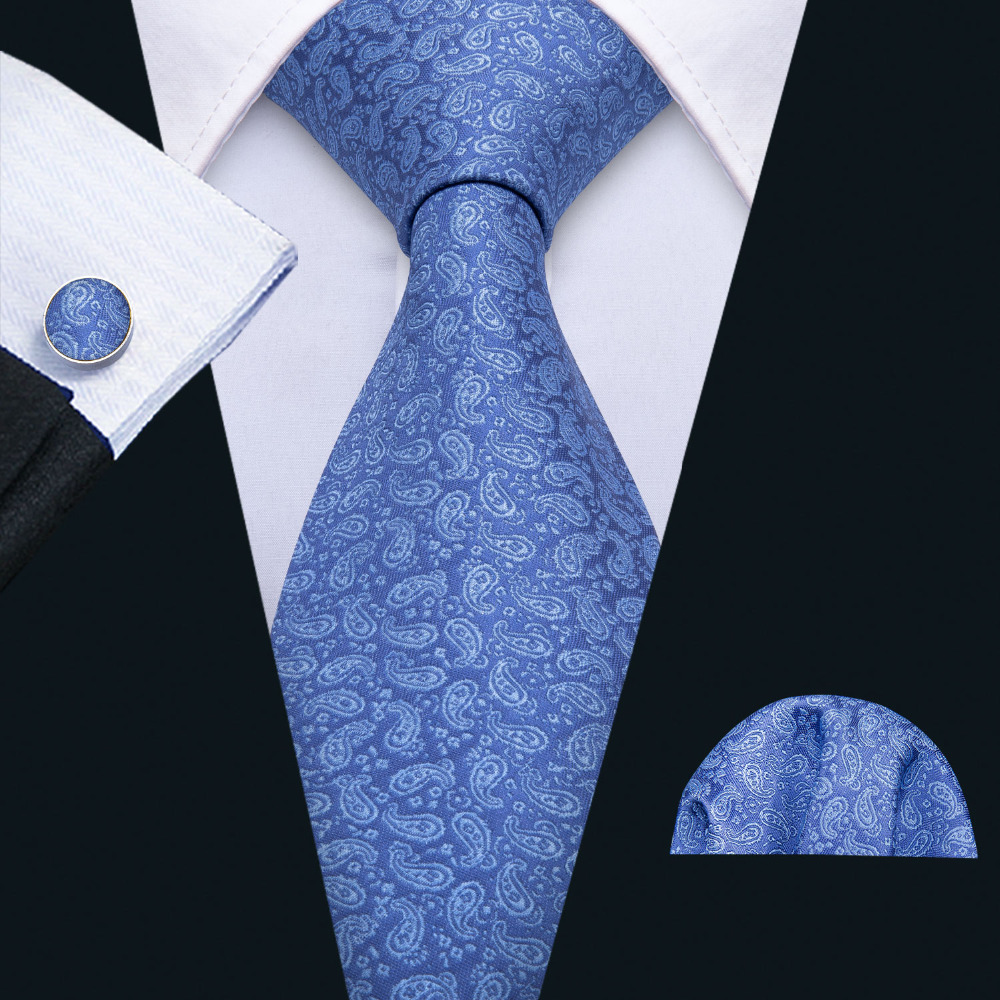 Barry.Wang Famous Designer Blue Paisley Wedding Tie Set 100% Silk Neck Ties For Men Gift Wedding Groom Business Party FA-5127