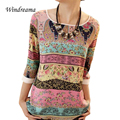 Tribal Print Blouses Lace Printing Three Quarter Puff Sleeves Shirt O-Neck Loose Tops Summer Casual For Women Ladies Blouses