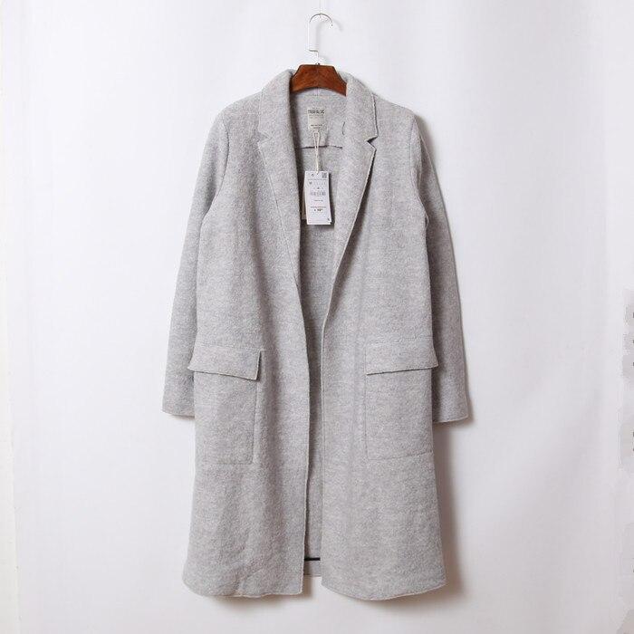 2016 Spring Light Grey Boyfriend Style Wool Coat Side Big Pockets ...