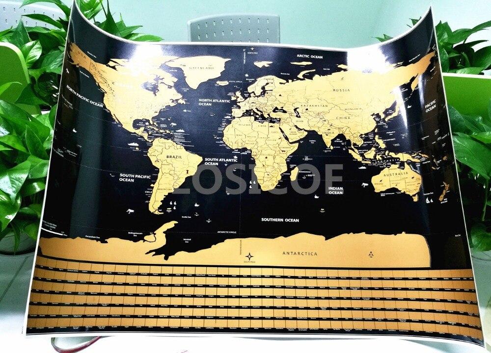 Travel Scratchable World Map Size 20x28inch Added Bonus