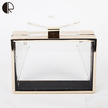 2016 New Fashion Brand Design Clear Colorful Handbags Acrylic Flap Luxury Day Clutch Transparent Wedding Party
