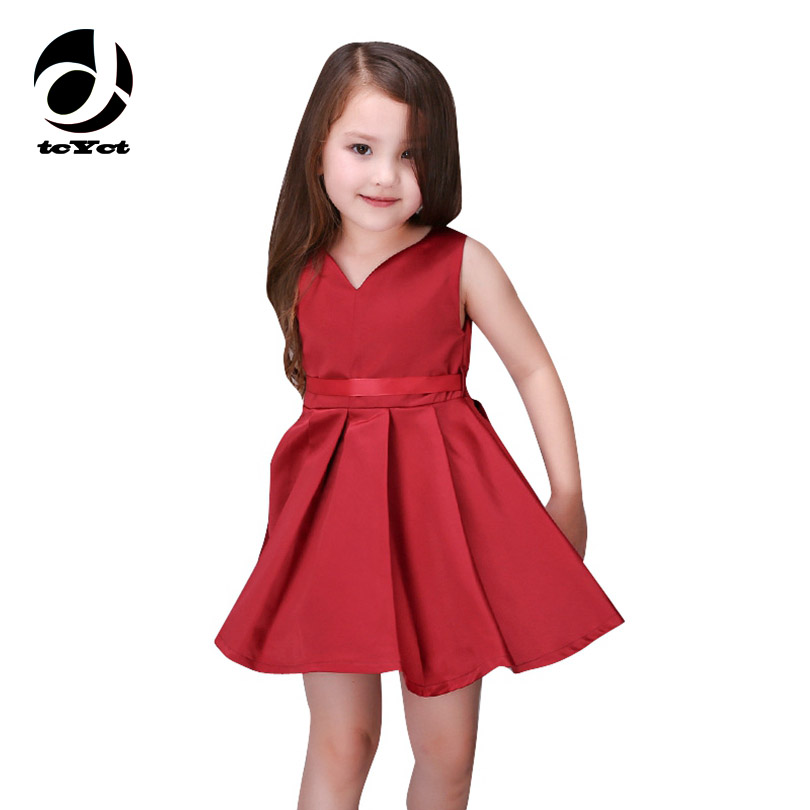 Girls Wedding Dress 2017 Sleeveless Fashion Bridesmaid Child Baby Red Dress Girl  2  10 11 12 13 Years Olds Spodnica-in Dresses from Mother & Kids on AliExpress