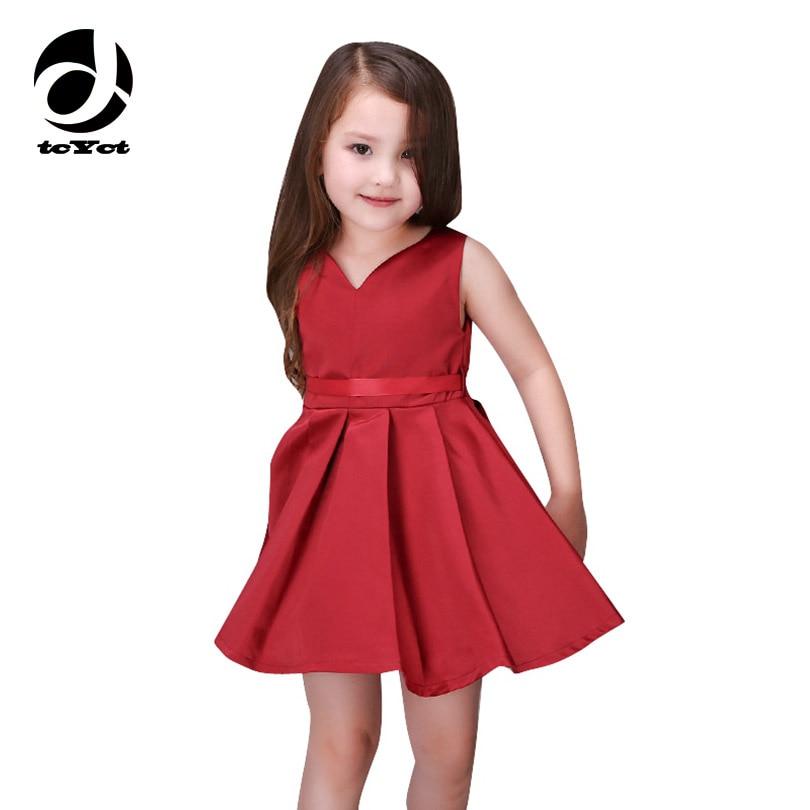 Girls Wedding Dress 2017 Sleeveless Fashion Bridesmaid Child Baby Red Girl 2 10 11 12 13 Years Olds Spodnica