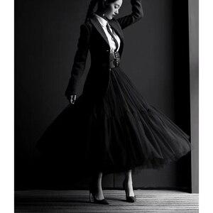 Image 2 - Cosmicchic 2019 활주로 디자이너 여성 블랙 롱 Tulle Skirt 하이 웨스트 플리츠 폴카 도트 Maxi Skirt Lolita Saia Jupe Faldas
