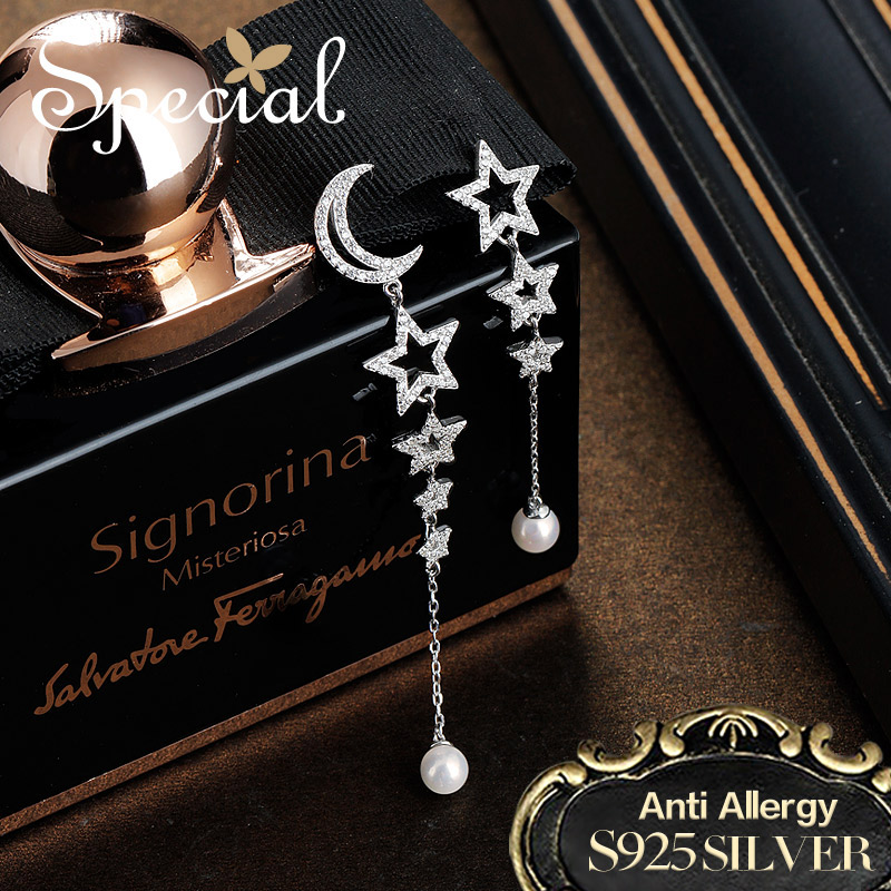 Special Fashion 925 Sterling Silver Drop Earrings Moon & Star Long Earrings Natural Pearls Jewelry Gifts for Women S2746E