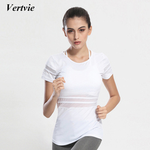 Vertvie Sport Yoga Shirts Tops Black White Patchwork Hollow Out Breathable Quick Dry Bodybuilding Sport Shirt Tops Fit Fitness