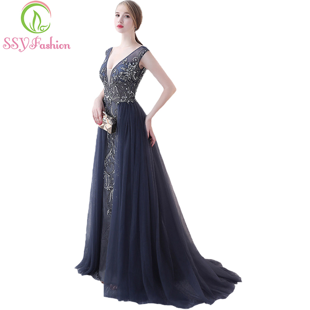 aaa12a9023c0 SSYFashion New Evening Dress High-end Noble Elegance Navy Blue V-neck  Beading Backless Prom Party Dresses Custom Robe De Soiree