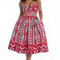 Africa Conjuntos de roupas de verão 2016 das Mulheres top curto e saia longa 2 peças mangas curtas strapless batik Padrão Do Vintage impressão