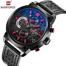 Naviforce marca de lujo funcional militar hombres de cuarzo analógico de pulsera de cuero relojes casual reloj de los hombres relogio masculino