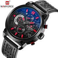 NAVIFORCE Luxus Marke Leder Analog Quarz Armbanduhren Funktionale Military herren Uhren Casual Uhr Männer Relogio Masculino