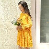 Kız Elbise Uzun Kollu Giysiler Kore Tarzı Pamuk Boyutu 4 5 6 7 8 9 10 11 12 13 14 yıl Çocuklar Sarı Dantel Prenses Elbise