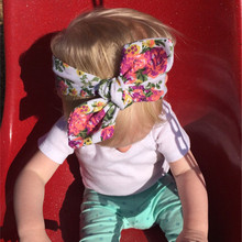 Baby Girl Tie Knot Bow Headband Elastic Floal Knitted Cotton Children Newborn Infant Hair Band Summer Turban Bebe Bandana
