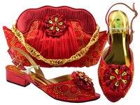 Последние Новое поступление итальянская Дамская обувь и сумки в комплекте со стразами свадебные туфли и сумочка в африканском стиле компле