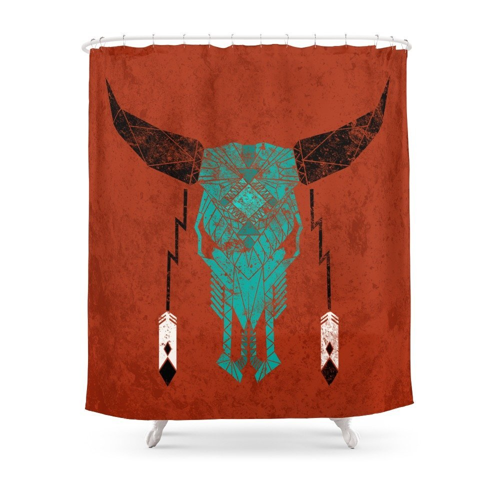 Southwest Skull Shower Curtain Set Waterproof Bath Curtain For Bathroom With Non-slip Floor Mat