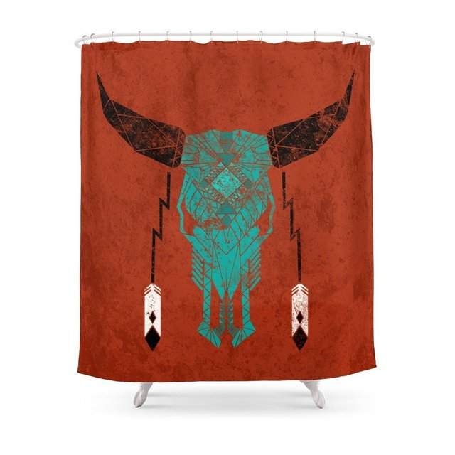 Southwest Skull Shower Curtain Set Waterproof Bath Curtain For Bathroom With Non-slip Floor Mat