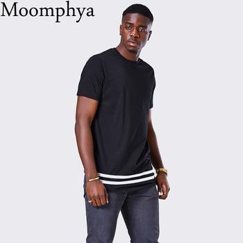 Moomphya Streetwear Men t shirt extended longline hipster t shirt men stripes t shirt Homme Long Line T shirt with Striped Hem 2