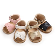 Summer Baby Shoes Kid Boy Girl Sandals Prewalker Newborn Baby Sandals Leather Soft Sole Crib Shoes Non-slip PU Leather Sandals(China)