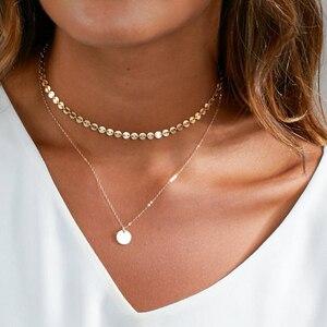 Ожерелье из стерлингового серебра 925 пробы Золотое чокер ожерелье монеты диски Подвески Bijoux Collier koye ювелирные изделия бохо ожерелье для жен...