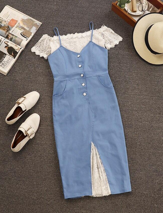 2018 new word shoulder to shoulder in the satchel hip cowboy bud silk condole belt skirt two-piece women summer dress