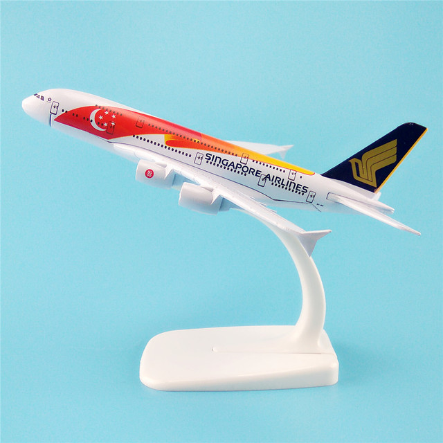 16cm metal plane model air singapore flag airlines a380 9v ski