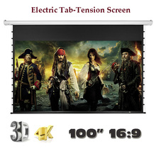 4K 3D Luxury Electric Tab Tension Screen 100″ 16:9 Home Theater High Quality Cinema Motorized Projector Screens
