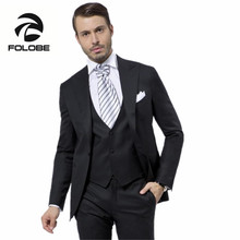 FOLOBE Terno Para Casamento Custom Made Black Handsome Mens Slim Suits Tuxedos Grooms Suit Men s