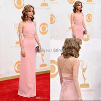 Two Pieces Halter Backless A Line Chiffon Prom/Evening Celebrity Red Carpet Awards Dress Cheap Free Shipping