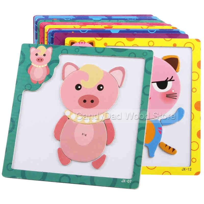 Magnetic Wooden Puzzle Toys for Children Educational Wooden Toys Cartoon Animals Puzzles Table Kids Games Juguetes Educativos