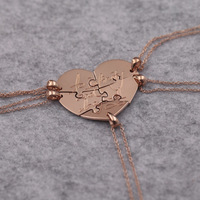 Rose Golden 5 Pcs Family Members Engraved Necklace Customized Hand Stamp Infinity Love Family Necklace Jewelry