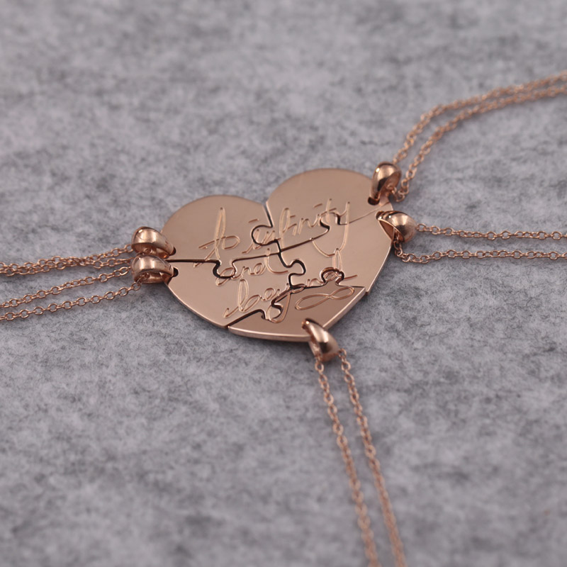 Rose Gold Color 5 Pcs Family Members Necklace Customized Stamp Letter Infinity Love Necklace Sets Jewelry Best Family Gift yoursfs 18k rose white gold plated letter best mum heart necklace chain best mother s day gift