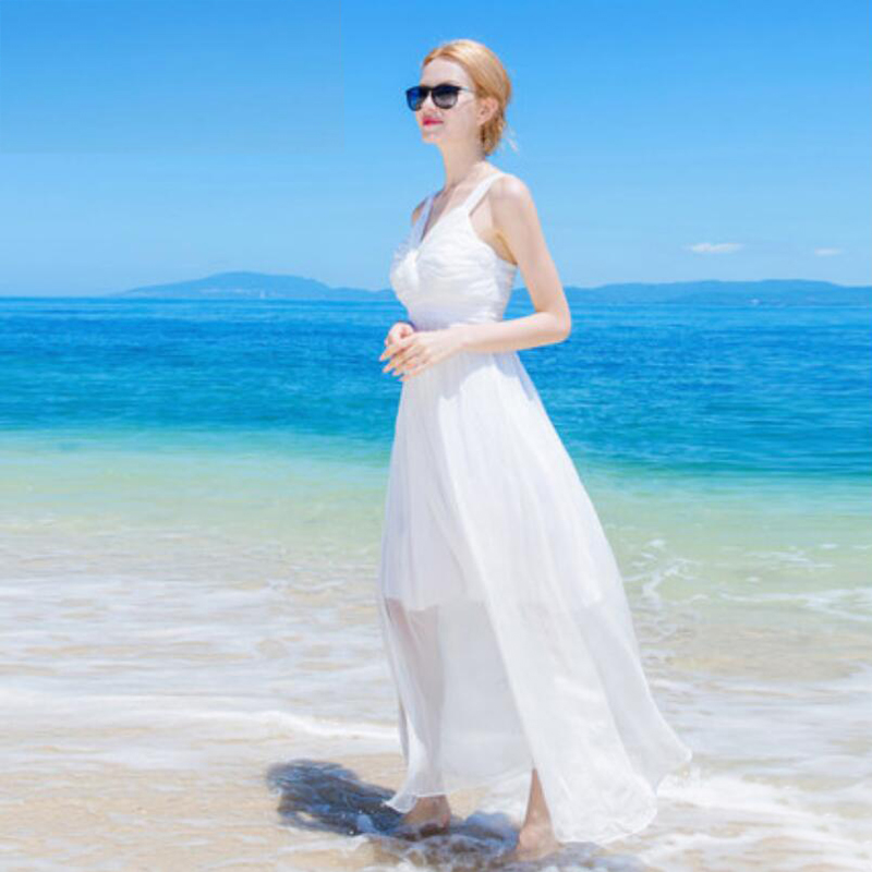 Femmes Livraison cou Robes V D'été Blanc Plage Vacances Robe Vente 100 De Chaude Soie 100 Naturelle Gratuite SOS1qwH