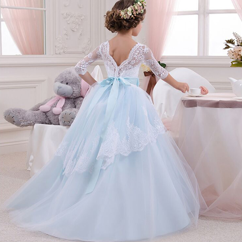 Summer Kids Dresses for Girl Wedding Tulle Lace Long Prom Girl Dress Princess Party for Teenage Girl Children Communion Gown 14T teenage girl party dress children 2016 summer flower lace princess dress junior girls celebration prom gown dresses kids clothes
