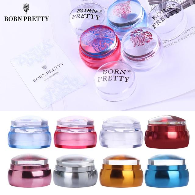 GEBOREN PRETTY Clear Schaken Siliconen Nail Stamper met Schraper Kleurrijke Handvat Jelly Nail Stamper Manicure Stempel Template Gereedschap
