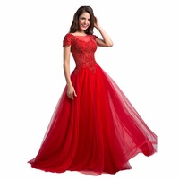 Robe De Soiree Red Lace Sexy O-Neck Long Evening Dress 2017 Anxia Formal Evening Party Gowns Prom Dress Custom-made Plus Size