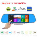 """Sale 7.0"""" IPS Touch Android 4.4 Reversing Rearview mirror video wifi Car DVR Dual Camera GPS camera parking e-dog Dual Lens AVIN"""