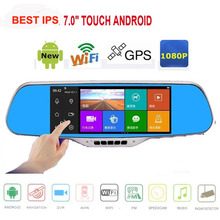 Sale 7.0″ IPS Touch Android 4.4 Reversing Rearview mirror video wifi Car DVR Dual Camera GPS camera parking e-dog Dual Lens AVIN