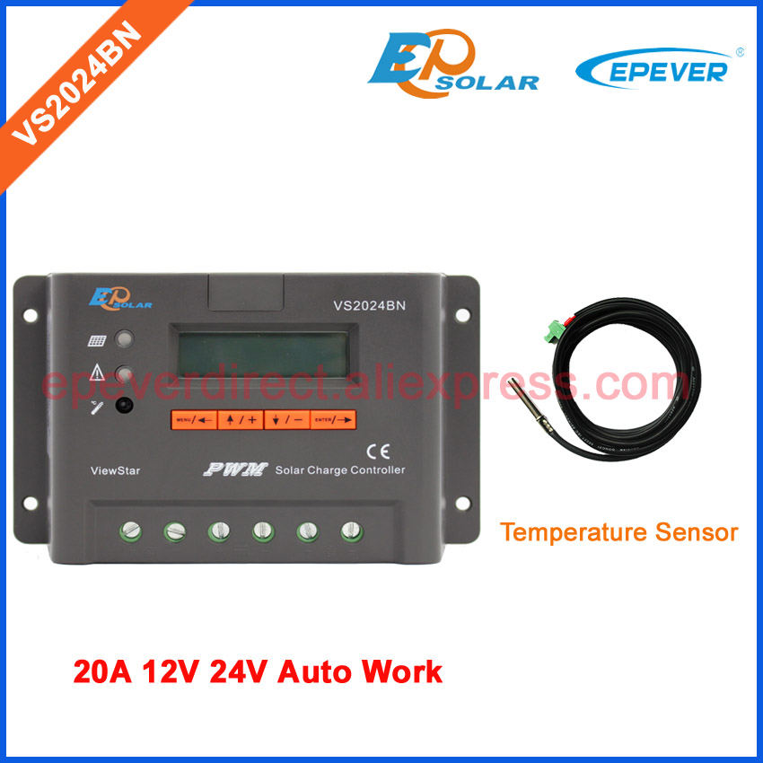 VS2024BN New PWM solar charge controller with LCD display EPEVER 20A 20amp 12V 24V Auto Work Temperature sensor cable pwm 48v 20a controller for solar battery charging system 24v 48v work mt50 remote meter vs2048bn lcd display 12v 36v
