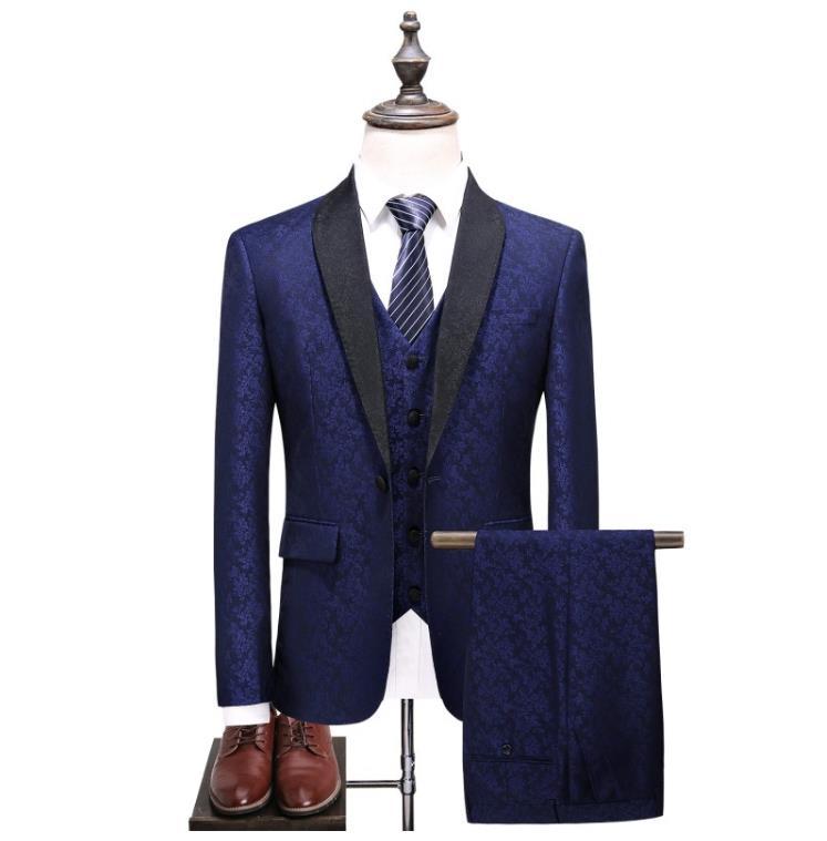 Men Suit 2019 Wedding Suits For Men's Classic Collar 3 Pieces Slim Fit Fashion Suit Mens Royal Blue Tuxedo Jacket Full Dress