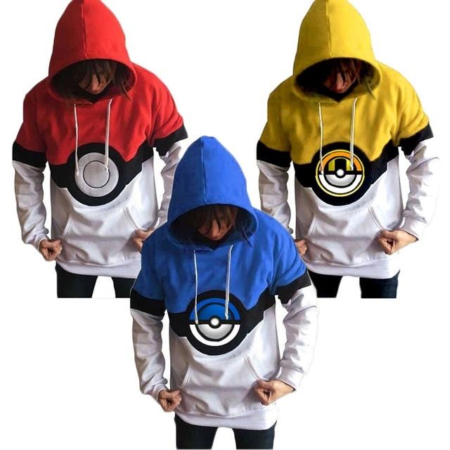 Mulheres ou Homens Hoodies Jumper Sweatershirt Dos Desenhos Animados Pokemon Pocket Monsters Ir Equipe Valor Místico Instinto Pokeball Top Blusa