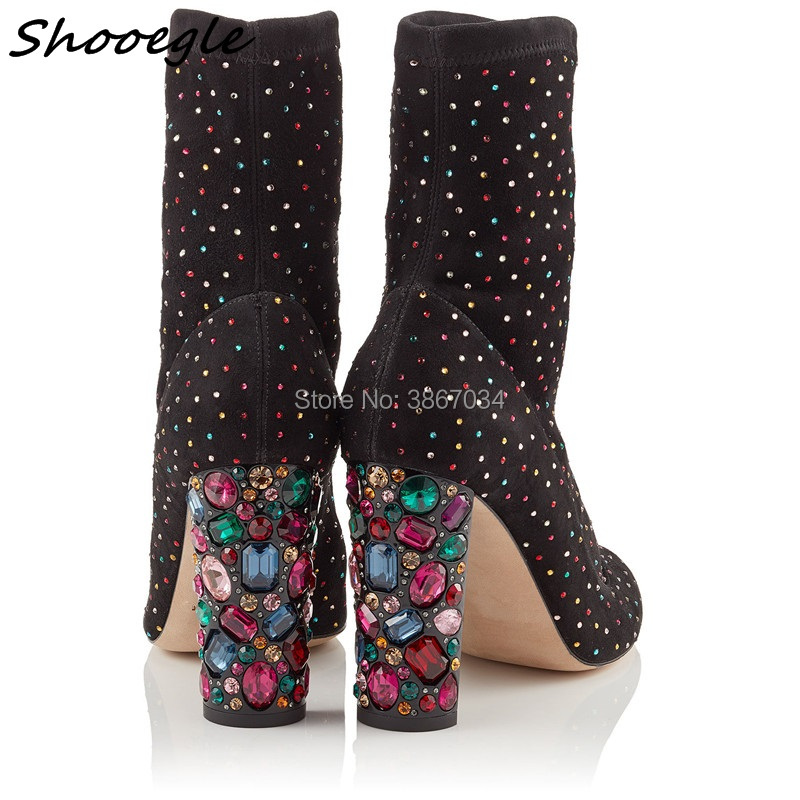 SHOOEGLE 2018 Spring Brand New Luxurious Designer Shoes Women Boots Crystal  Heel Chunky High Heel Ankle Boots Celebrity Style-in Ankle Boots from Shoes  on ... f736cfa7a7fd