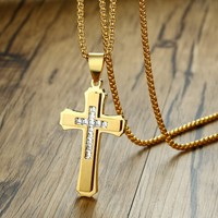 Men S Stainless Steel Cubic Zirconia Stone Double Layer Flared Cross Pendant Necklace For Men West