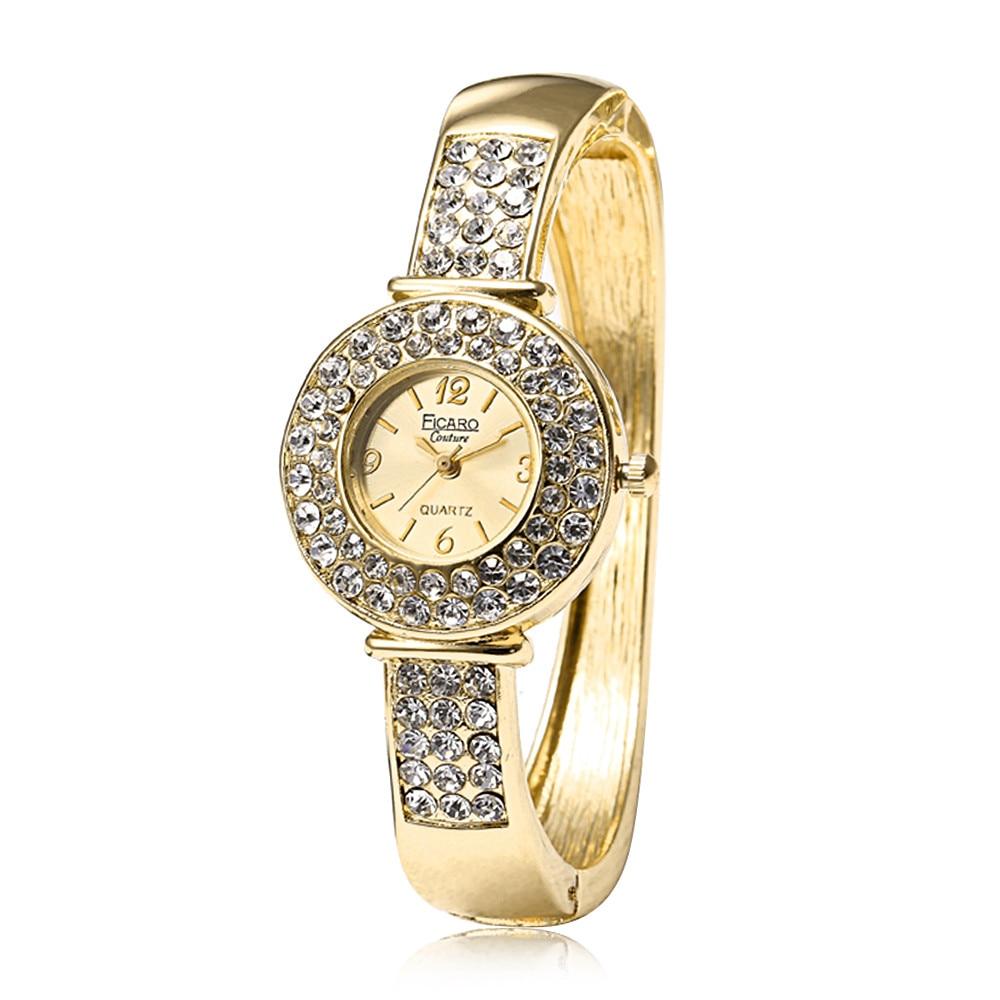 Luxury Women Exquisite Round Small Dial Clock Full Rhinestone Bracelet Watch Analog Quartz Movement Wrist Watch Gift Relogio #B